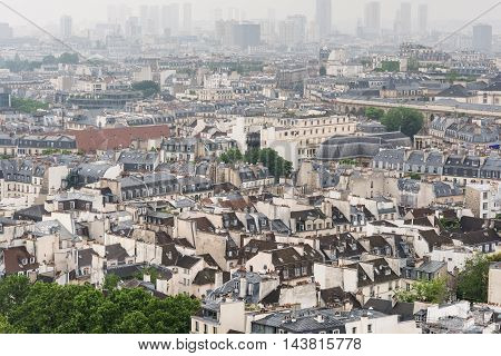 Classic rooftops in the city of Paris France