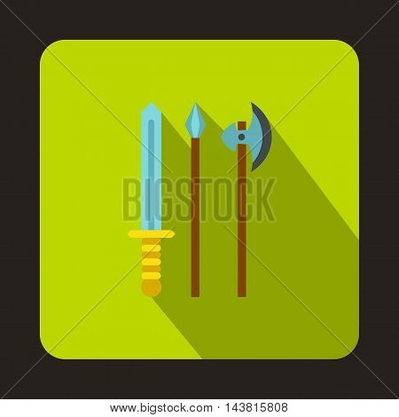 Medieval weapons icon in flat style on a green background