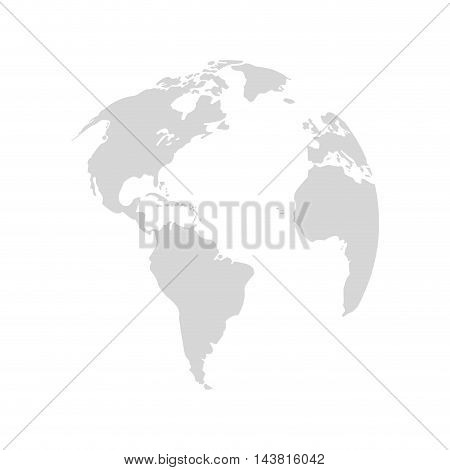 planet earth map grey world icon. Flat and Isolated design. Vector illustration