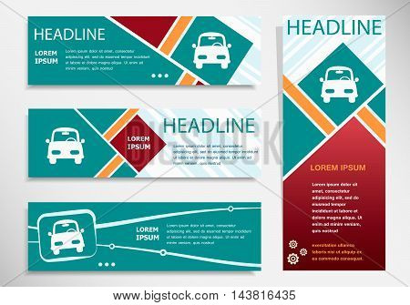 Car Icon On Horizontal And Vertical Banner