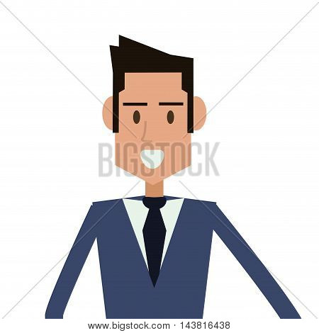 businessman cartoon man male avatar business suit cloth icon. Flat and Isolated design. Vector illustration