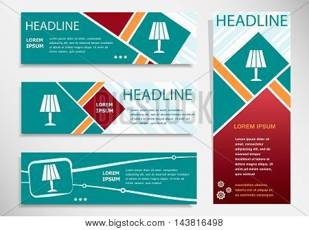 Table Lamp Icon On Horizontal And Vertical Banner
