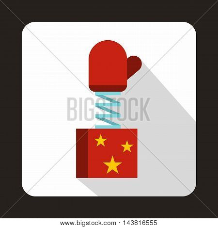 Red mitten jumping out from a box icon in flat style on a white background