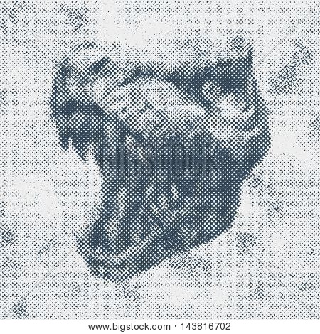 Trex Dinosaur Vector halftone background.