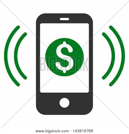 Payment Phone Ring icon. Vector style is bicolor flat iconic symbol with rounded angles, green and gray colors, white background.