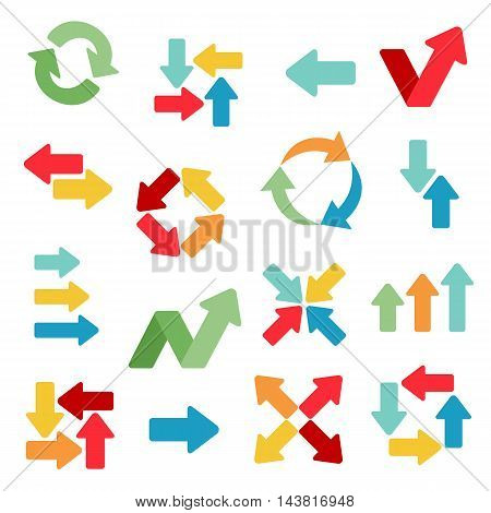 Arrows web icons. Different colors and variants. Colorful symbols. Big set. Concepts for web and mobile apps. Flat design vector illustration.