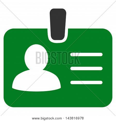 Person Badge icon. Vector style is bicolor flat iconic symbol with rounded angles, green and gray colors, white background.