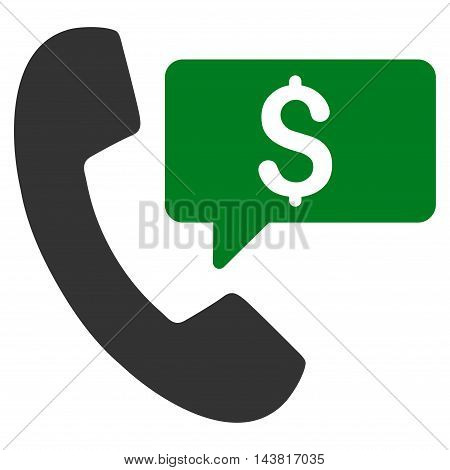 Phone Order icon. Vector style is bicolor flat iconic symbol with rounded angles, green and gray colors, white background.