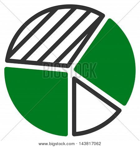 Pie Chart icon. Vector style is bicolor flat iconic symbol with rounded angles, green and gray colors, white background.