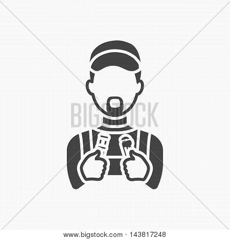 Plumber icon black. Single silhouette plumbing symbol.