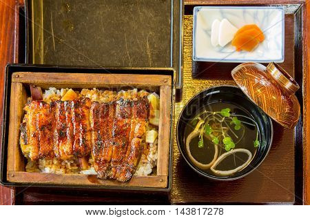 Japanese eel rice and miso soup serve in bento set at a famous Japanese restaurant