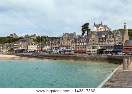 view of waterfront in Cancale city Brittany France