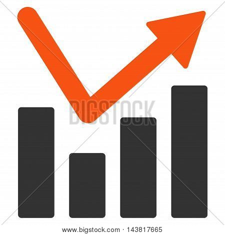 Bar Chart Trend icon. Vector style is bicolor flat iconic symbol with rounded angles, orange and gray colors, white background.