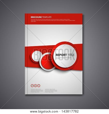 Brochures book or flyer with abstract round red design elements vector eps 10