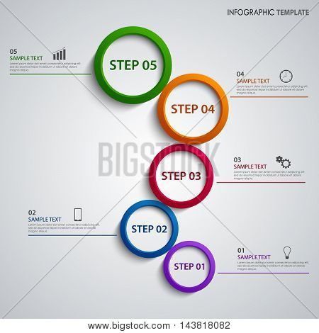 Info graphic with colored rings above the other template vector eps 10