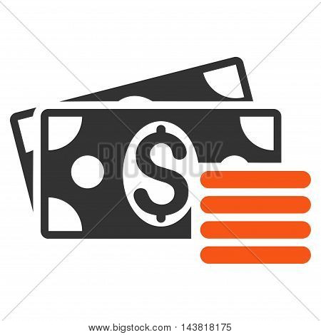 Dollar Cash icon. Vector style is bicolor flat iconic symbol with rounded angles, orange and gray colors, white background.