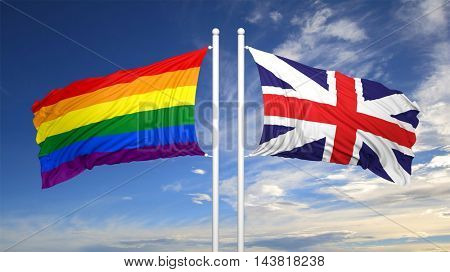 3d rendering rainbow colors flag with UK flag
