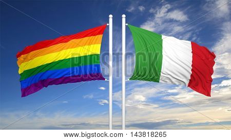 3d rendering rainbow colors flag with Italy flag