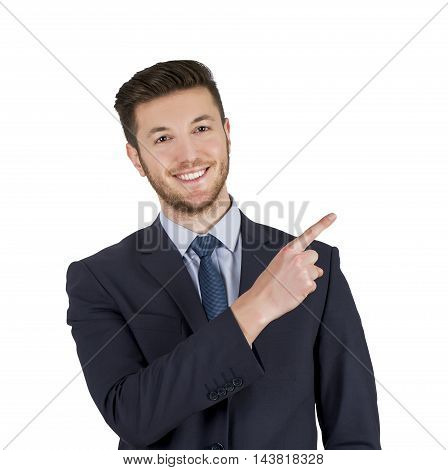 Human Pointing on White Background Working Businessman Conceptual