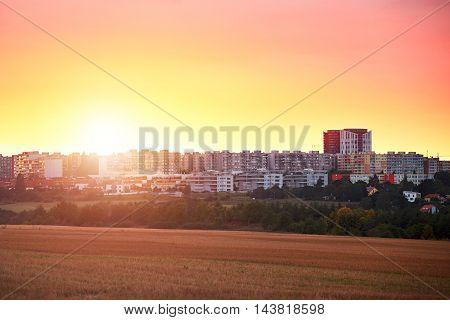 Residential district at the golden sunset. Suburb of Prague Czech Republic