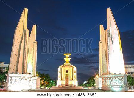 Democracy monument of Thailand at Twilight, Bangkok, Thailand