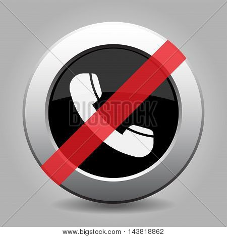 gray chrome button with no telephone handset - banned icon