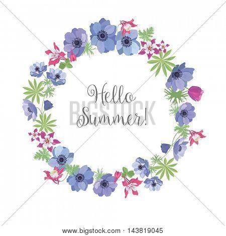 Floral Frame. Summer Greeting Card Design. T-shirt Fashion Graphic.