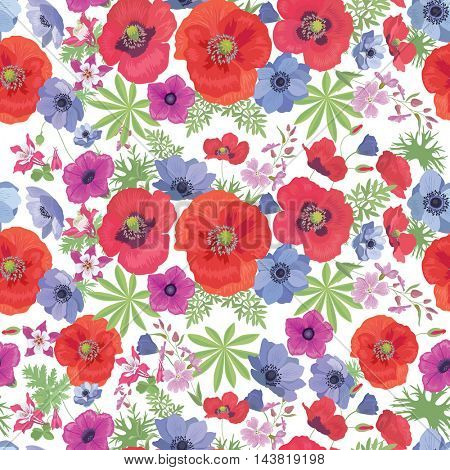 Seamless  Floral Pattern with Poppies and Anemones on the white Background. Summer Fashion Ornament for Fabric and Wrapping Paper.