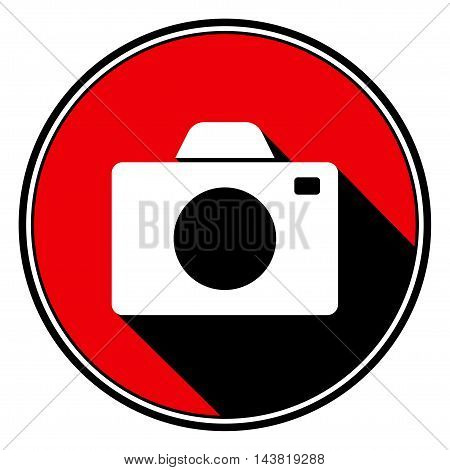 information icon - red circle black outline and white camera with stylized black shadow