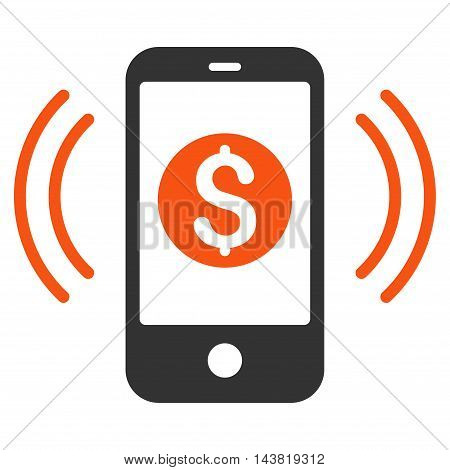 Payment Phone Ring icon. Vector style is bicolor flat iconic symbol with rounded angles, orange and gray colors, white background.