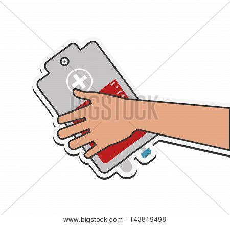 blood bag donation medical health care icon. Flat and Isolated design. Vector illustration