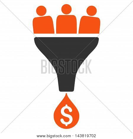 Sales Funnel icon. Vector style is bicolor flat iconic symbol with rounded angles, orange and gray colors, white background.