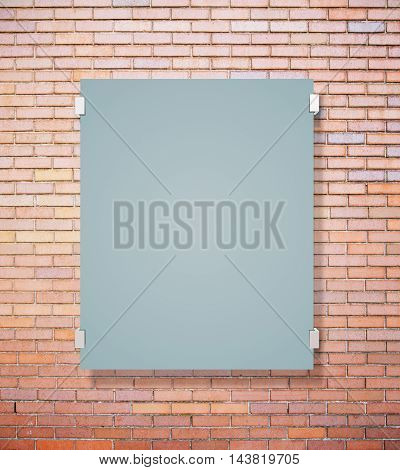 Matte glass plate on red brick wall background. Mock up 3D Rendering