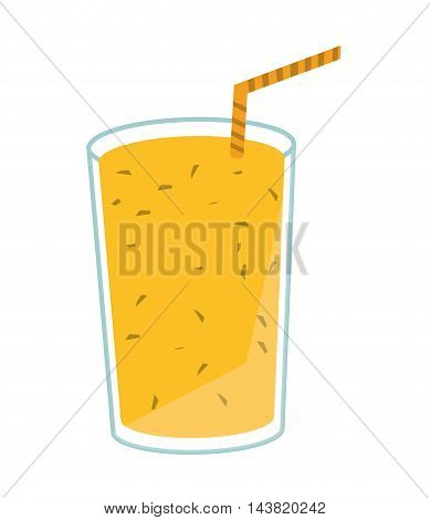 juice glass drinking straw drink beverage fresh icon. Flat and isolated design. Vector illustration