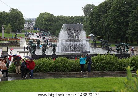 OSLO, NORWAY - JULY 1, 2016: This is the fountain in world-famous Vigeland Sculpture Park.