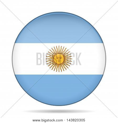button with national flag of Argentina and shadow