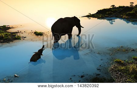 Group of elephants bathing in a river.,3d render