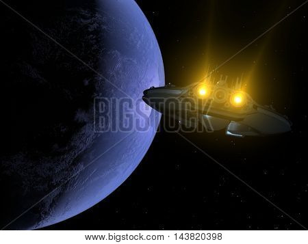 The spacecraft is flying in space on the background of the Earth., 3d render