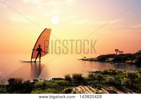 Man with a sail in the sea.,3d render