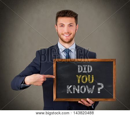 Did You Know on Chalkboard Working Businessman Conceptual
