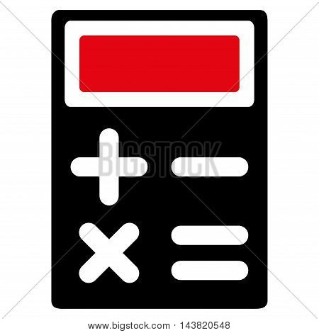 Calculator icon. Vector style is bicolor flat iconic symbol with rounded angles, intensive red and black colors, white background.