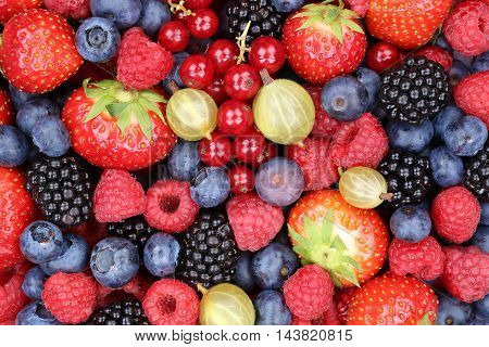 Berry Fruits Berries Collection Strawberries, Blueberries Raspberries Background Top View