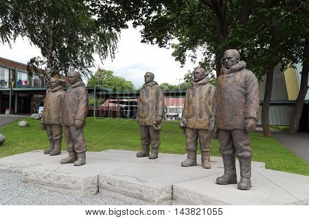 OSLO, NORWAY - JULY 1, 2016: It is a monument to the Norwegian polar explorers near the museum ship Fram.