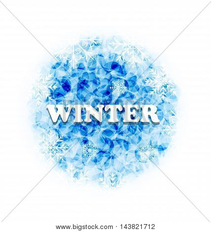 Illustration Abstract Winter Background with Set Snowflakes - Vector