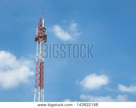 Communication tower or telecom cell phone tower against the sky (telecommunication)