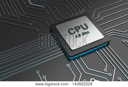 Central computer processors, CPU computer technology, Electronic concept. 3D illustration