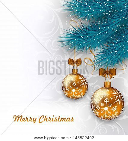 Illustration Christmas Background with Glass Balls and Fir Branches - vector
