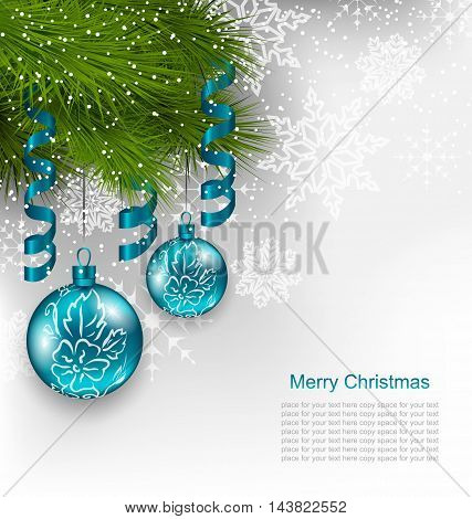 Illustration Christmas Background with Hanging Glass Balls and Adornment - Vector