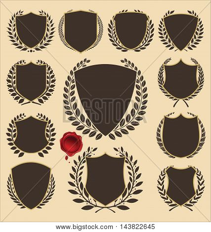 shields and laurels labels retro collection vector illustration