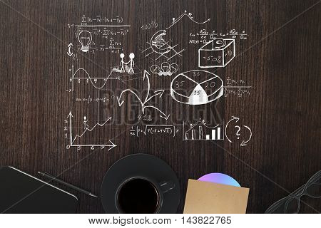 Top view of wooden table with business sketch coffee cup cd smartphone pen and glasses. 3D Rendering